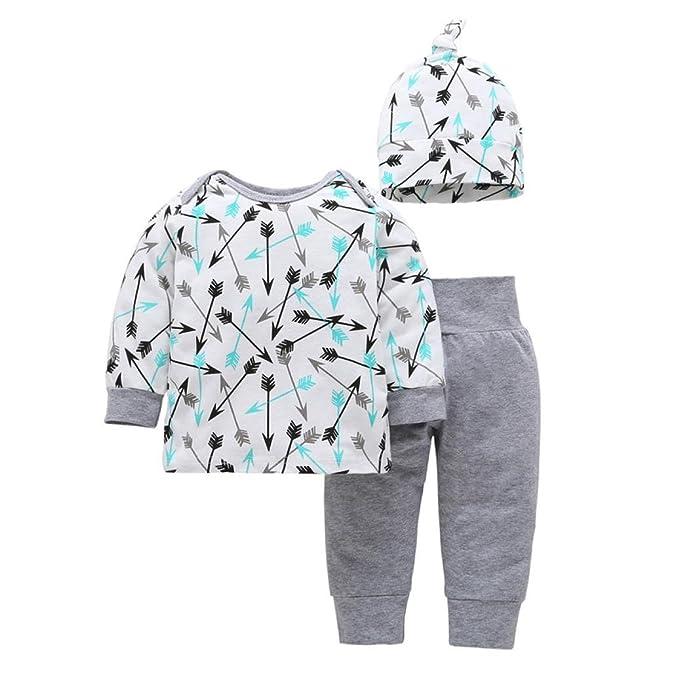 K-youth® 3PC/Set Ropa Bebe Nino Recien Nacido Otoño Flechas Impresión Blusas Bebe Niña Manga Larga Camisetas Bebé Conjuntos Moda Camisa + Pantalones Largos ...