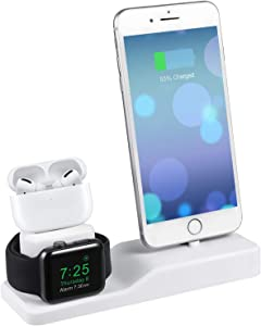 MOTOSPEED 3 in 1 Charging Station for Apple Watch Charger Stand Dock for iWatch Series 5/4/3/2/1/ AirPods Pro/2 /iPhone 11/11 pro/Xs/Xs Max/Xr/X/8/8 Plus/7/7 Plus/6/- Support Nightstand Mode