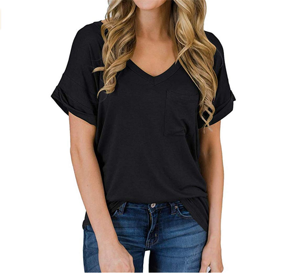 XJSGS Women Casual Shirts Breathable Light Weight Soild Knits Tees Loose Fitting Stretchy Soft Comfortable Blouses,Black,XL