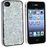 Silver Bling Rubber Hard Skin Cover Case for AT&T iPhone 4 G