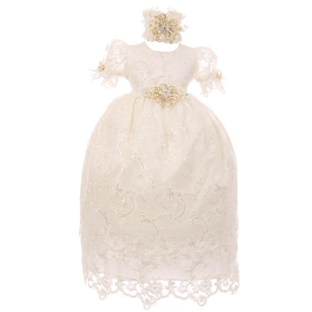 The Rain Kids Rain Kids Baby Girls Ivory Shantung Headband 3 Pc Christening Dress Set 12M