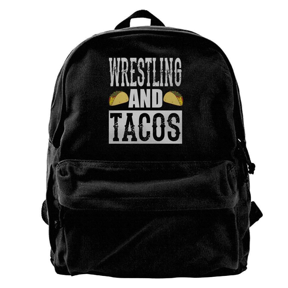 Buecoutes Wrestling And Tacos Vintage Black Canvas Backpack