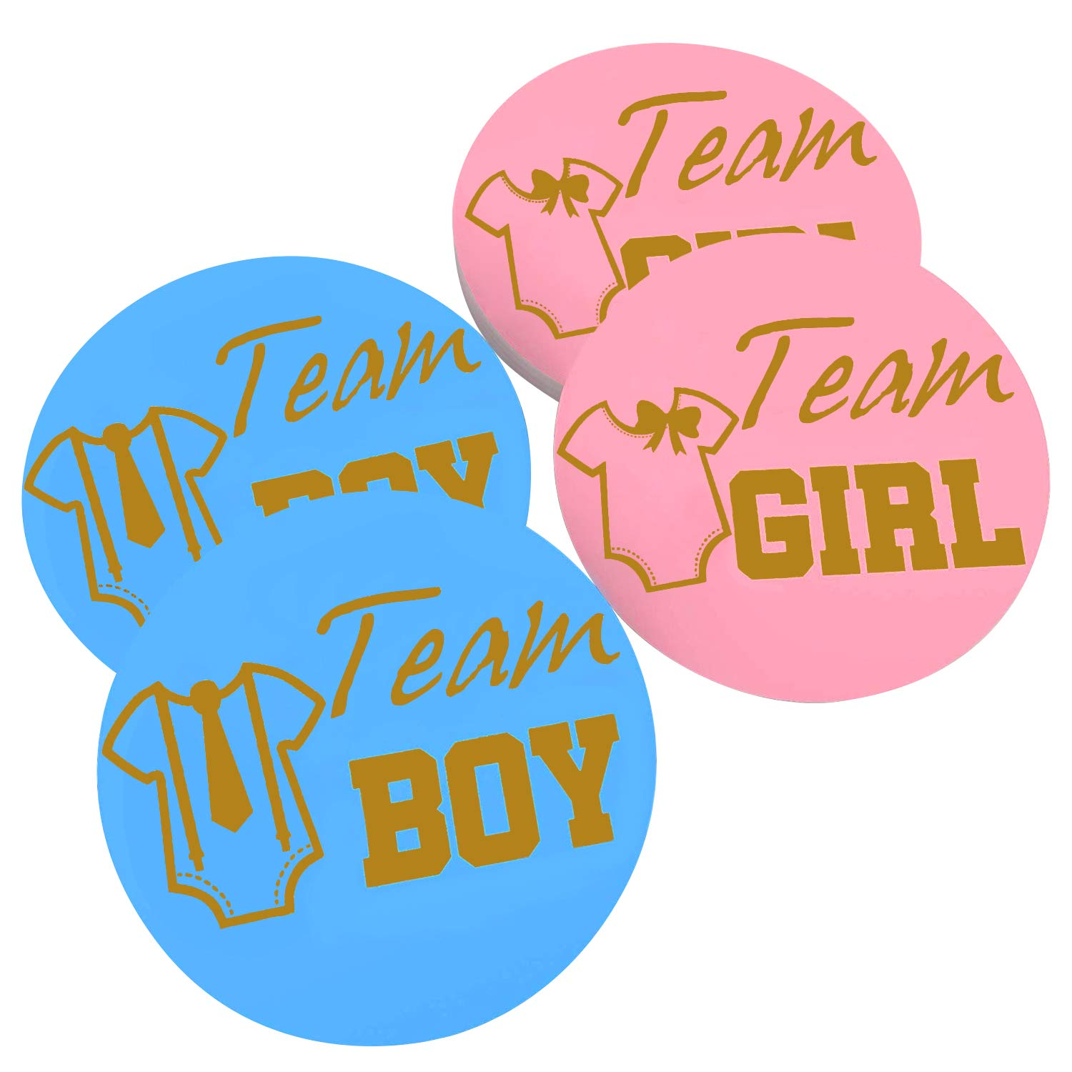 Elcoho 100 pack gender reveal stickers games team boy and team girl baby shower sticker labels and baby gender reveal balloon set for baby shower gender