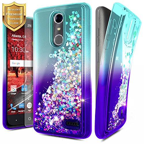 NageBee For ZTE Blade Spark Case (Z971), ZTE ZMax One (Z719DL), ZTE Grand X4 (Z956) w/ [Tempered Glass Screen Protector] Glitter Liquid Quicksand Flowing Sparkle Bling Clear Cute Case -Aqua/Purple (Clear Waterfall Glass Grande)