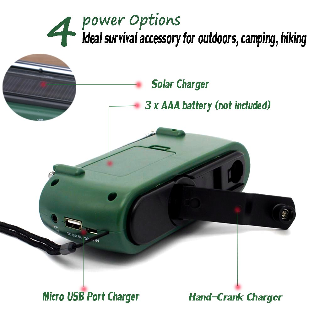 Frostory Solar Dynamo Hand Crank LED Flashlight FM/AM Radio with Emergency Power Bank Survival Kit 332FS (Green) by Frostory (Image #4)