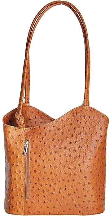 555bc4bcc524f Handbag Bliss Italian Leather Ostrich Print Convertible Shoulder Bag  Handbag Backpack Rucksack (Tan)