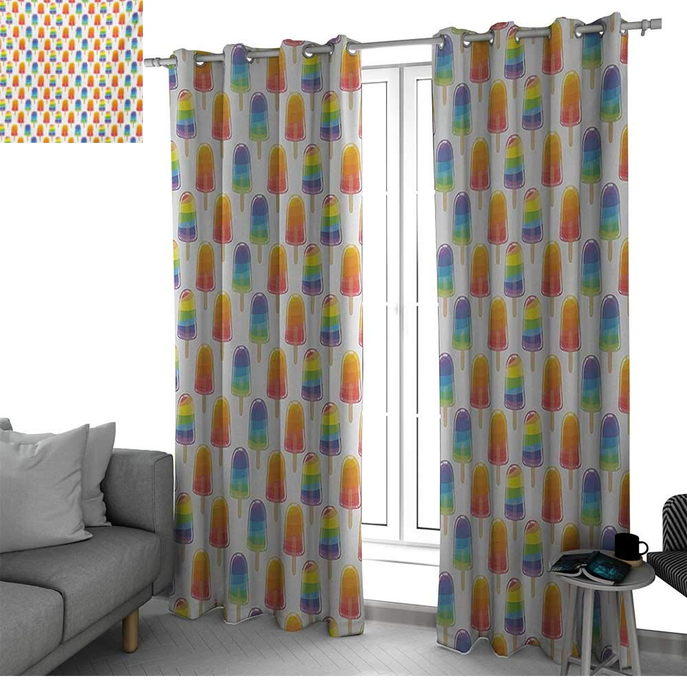 bybyhome Ice Cream Room Divider Curtain Screen Partitions Orange and Rainbow Colored Sugary Treats Popsicles Sweet Tooth Theme Pattern Curtains for Living Room Multicolor W84 x L84 Inch