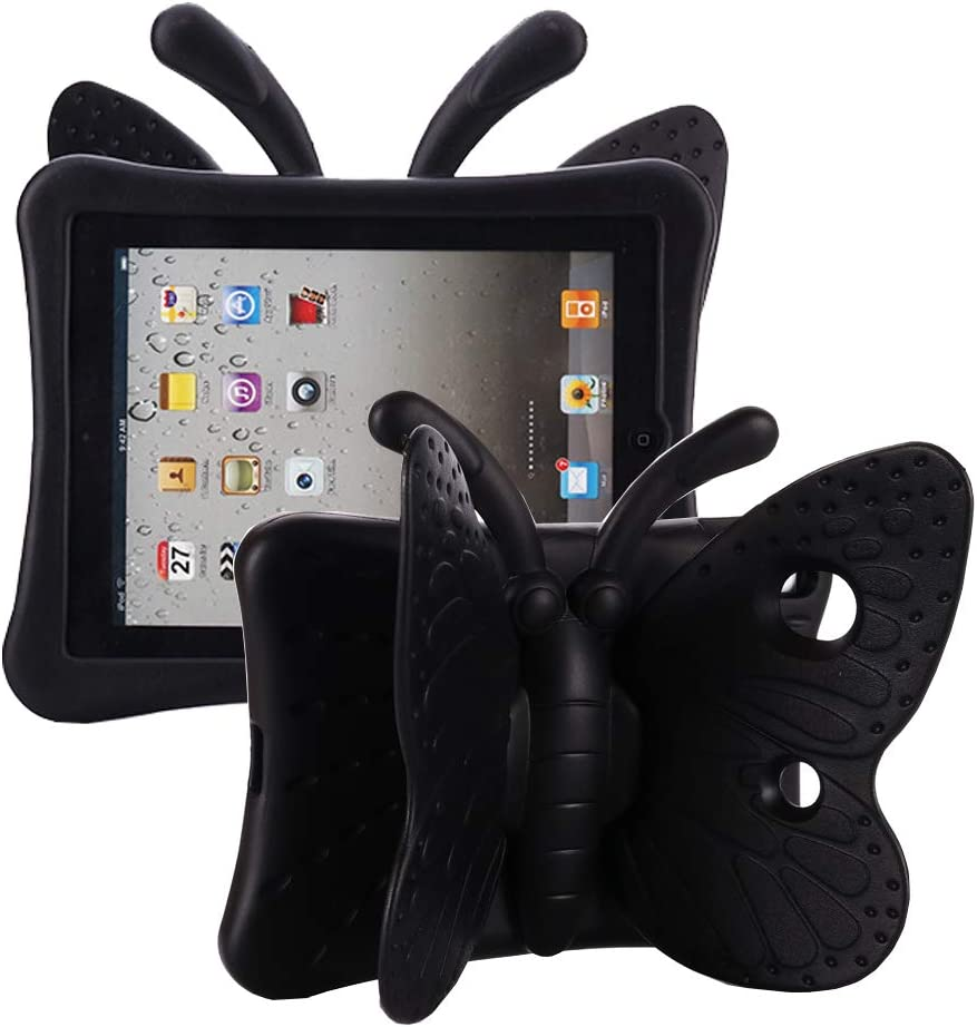 Tading iPad 10.2 Case 2020, iPad 7th Generation Case for Kids, Cute Butterfly Shockproof EVA Foam Super Protection Kid Proof Protective Stand Cover for iPad 10.2 Inch 2019 7th 2020 8th Gen - Black
