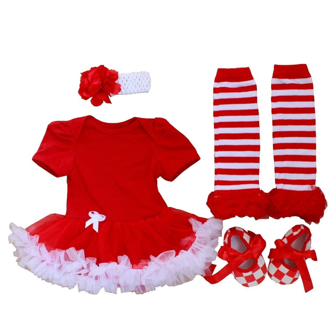 eKooBee Baby Newborn Girls Christmas Solid Romper Dress Sets Outfit