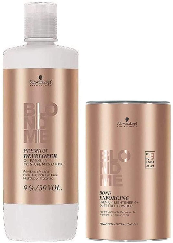 BlondMe Combo Premium Developer 9%/30V and Bond Enforcing Premium Lightener 9+ Powder