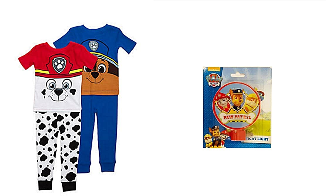 f0cca024f Amazon.com: Paw Patrol Chase and Marshall Toddler 4 Piece Mix and Match  Pajamas PLUS Night Light (3T): Clothing