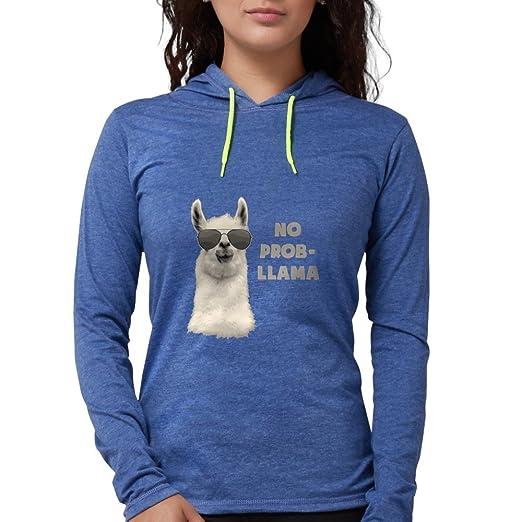 3ac06b216de22d CafePress - No Problem Llama Long Sleeve T-Shirt - Womens Hooded Shirt  Heather Blue