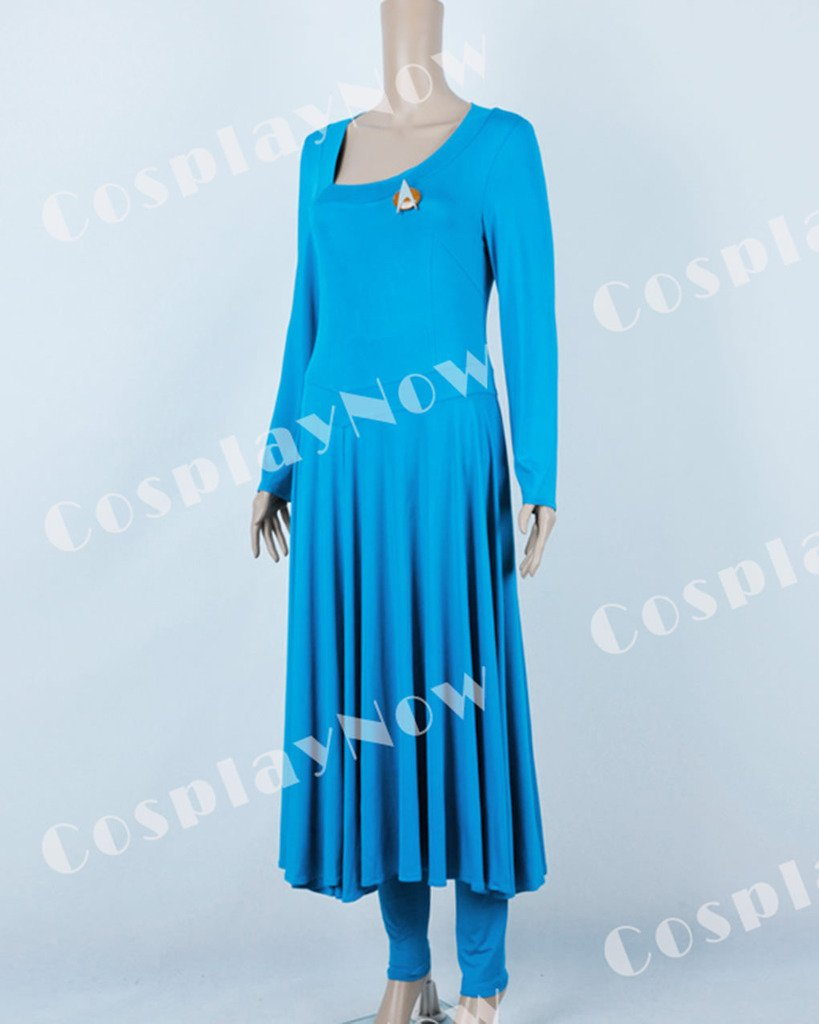 CosplayNow Star Trek Deanna Troi Cosplay Costume Dress Blue Custom Made by CosplayNow (Image #4)