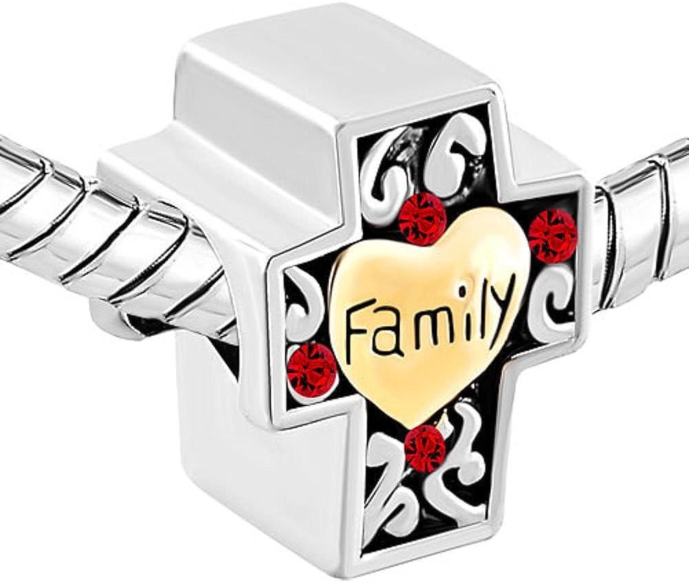Uniqueen Famille Charms Croix Rouge Strass Perles de cristal Compatible avec Chamilia et Troll