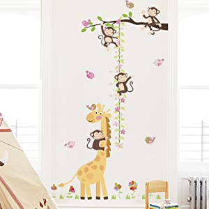 Amaonm Removable Monkeys and Giraffe Height Chart Wall Decals Tree Branch and Flower Growth Ruler for Kids Rooms Bedroom Boys and Girls Rooms Nuersery Art Decor Living Room (Birds)