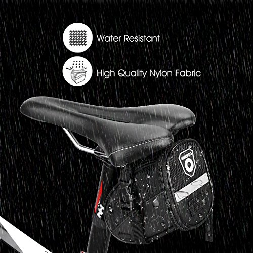 Enkeeo Strap On Saddle Bike Bag Bicycle Seat Pack Wedge Pack Pouch Splashproof with Straps, Sealed Zipper, Reflective Stripe, Nylon Fabric for Outdoor Cycling (Black)