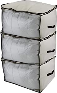 (Set of 3) Breathable Canvas Storage Box, Blanket Bag, Organizer Box with Zipper and 2 Handles, See-Through Front Window, Size: 23.6'' x 19.8'' x 13.8'', Jumbo
