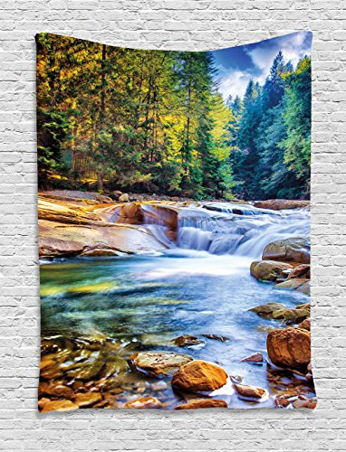 Ambesonne Nature Decor Tapestry by, Mother Nature Theme Waterfall in the Forest and Stones Print, Wall Hanging for Bedroom Living Room Dorm, 60WX80L Inches, Jade Green Avocado Green