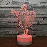 USB Powered Stunning Woman 3D Remote Control Optical ILLusion Night Light Crackle Paint Base 7 Colors Changing Table Desk Lamp Beside Nightlight Toy for Kids Gifts