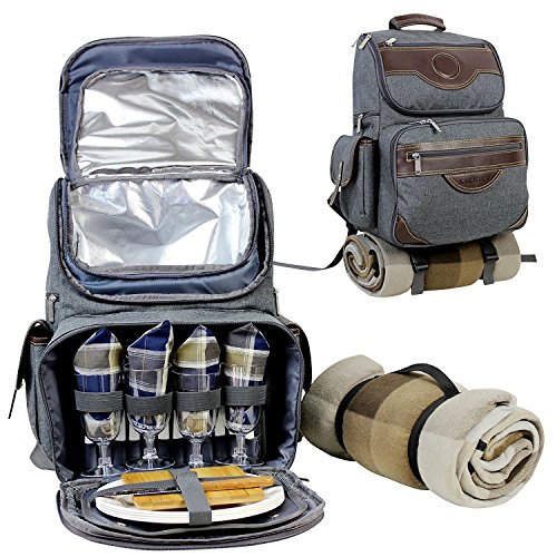 INNO STAGE Insulated Picnic Backpack for 4, Hiking & Camping Back Pack Set with Separated Cooler Tote Win Picnic Bag,Movable Dinner Set Carrier,Plates,Cutlery and Waterproof Picnic Blanket Review