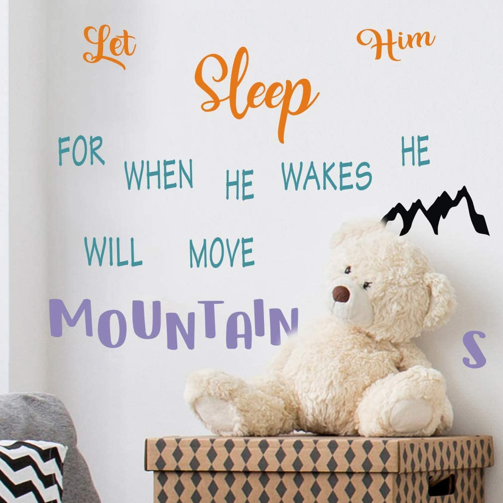 TOARTi Let Him Sleep for When He Wakes He Will Move Mountain Wall Decals, Inspirational Quotes Wall Stickers, Stars Dots Mountain Wall Art for Boys Playroom Bedroom Decor