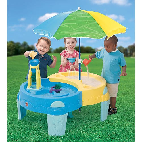 Step2 Shady Oasis Sand and Water Play Table for Toddlers with Heavy Duty Umbrella and Accessory Playset