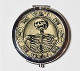 Memento Mori Skeleton Compact Mirror Victorian Macabre Goth Make Up Pocket Mirror for Cosmetics
