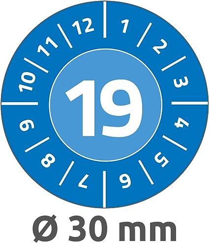 stark selbstklebend, Kleinformat, /Ø 20 mm, 120 Aufkleber auf 8 Blatt blau AVERY Zweckform 6943 widerstandsf/ähige Jahres-Pr/üfplaketten 2019