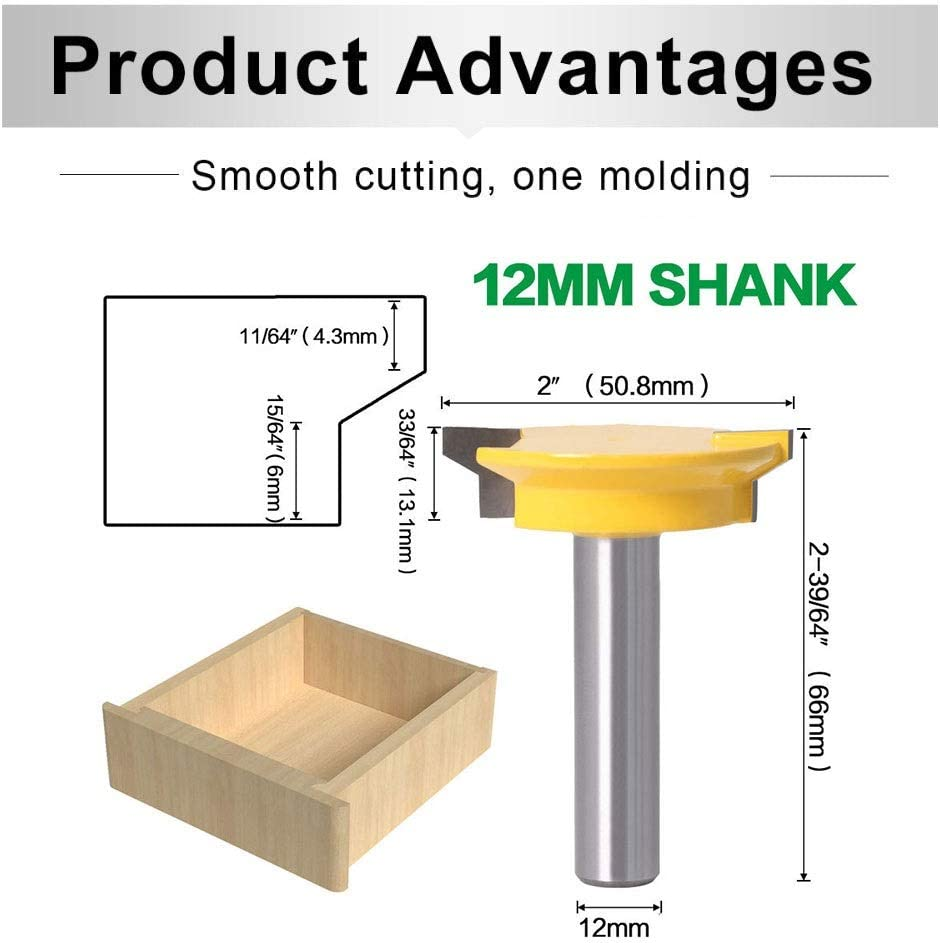 Size : 1//2 inch Shank Carbide Tipped Joint Woodworking Tools MMDSG Drawer Corner Lock Router Bit Locking Drawer Glue Joint Milling Cutter