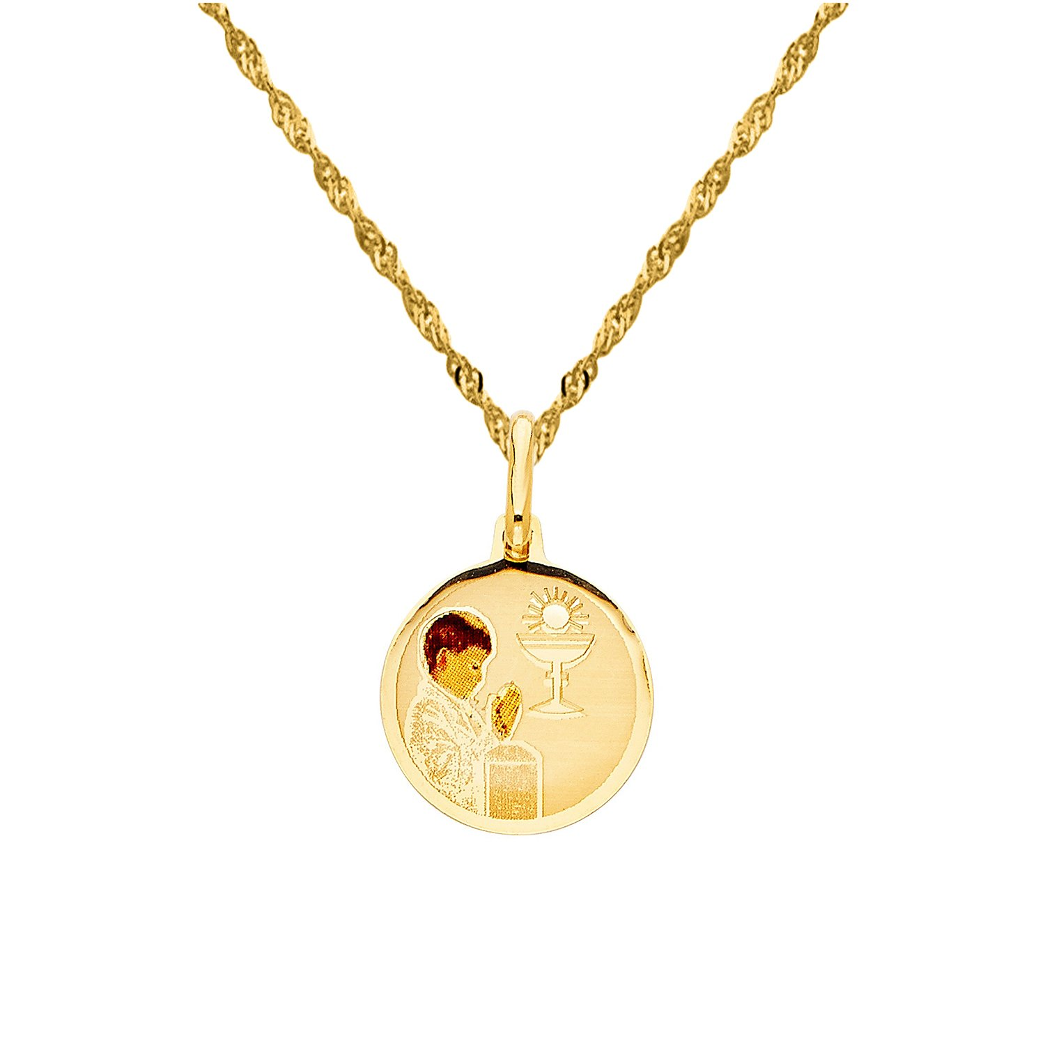 14k Yellow Gold Boy's First Communion Pendant with 1.2-mm Singapore Chain