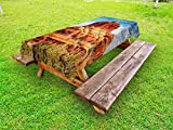 Lunarable Western Outdoor Tablecloth, Famous Bell Rock and Courthouse Butte in Sedona Arizona USA Nature Desert, Decorative Washable Picnic Table Cloth, 58 X 104 Inches, Cinnamon Blue Green