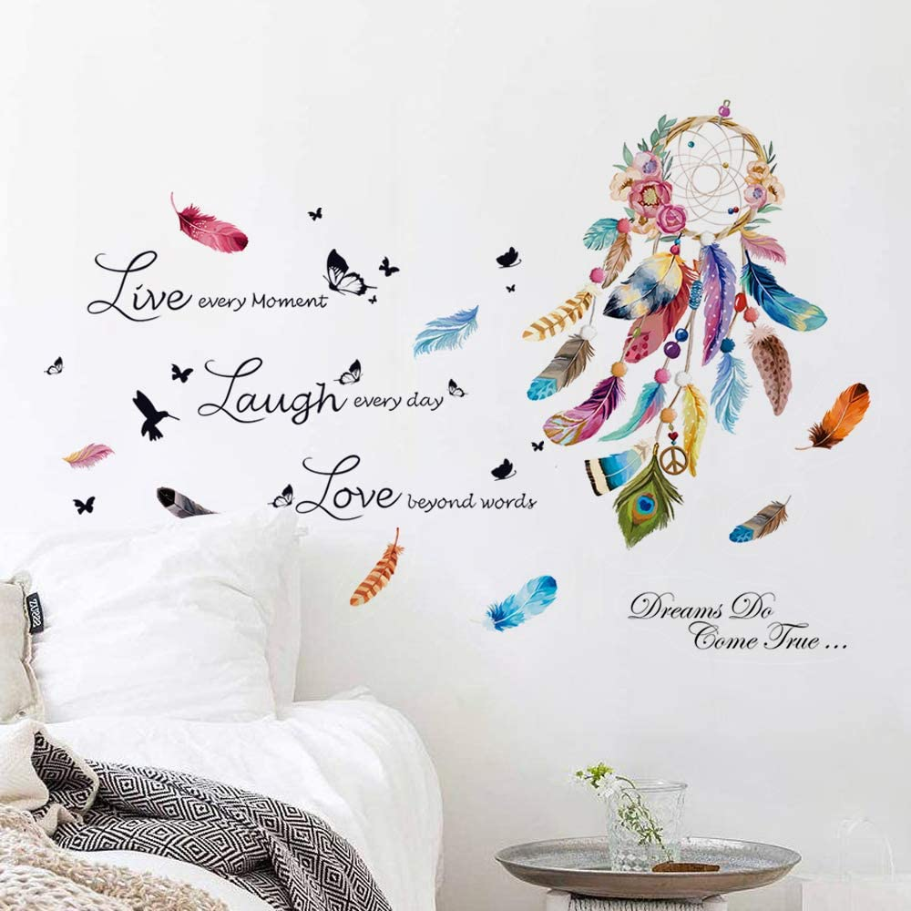 decalmile Dream Catcher Feathers Wall Decals Bundle with Live Laugh Love Quotes Wall Stickers Living Room Bedroom Home Decor
