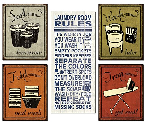 Trendy & Extremely Popular Humorous Laundry Room Rules and Laundry Sign Posters; One 8x18in Poster Prints and Four 8x10in Poster Prints - Funny Laundry