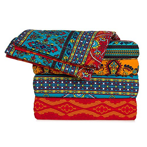 MAXYOYO 4 Piece Bed Sheets Set Flat Sheet + Fitted Sheet + 2 Pillow Cases,High Quality Sanded Cotton Colorful Bohemian Sheet Sets - Luxurious, Comfortable, Soft Sheet Full Queen King Size (King) (Bohemian Sheet Sets)