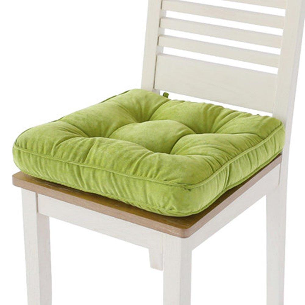 tmjj Thickeningソリッドカラースクエアシートクッションオフィス/ダイニング椅子パッド畳床枕16.54 X 16.54インチ 42x42cm グリーン  ダークグリーン B01N2PC6YI