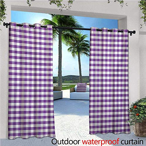 Pool Tablecloth Triangles (Checkered Tablecloth Outdoor- Free Standing Outdoor Privacy Curtain Purple and White Colored Gingham Checks Rows Picnic Theme Vintage Style Print for Front Porch Covered Patio Gazebo Dock Beach Home)