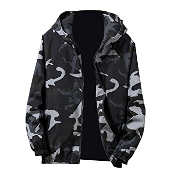Teresamoon Mens Autumn Winter Zip Camouflage Long Sleeve Pocket Sport Hoodies Jacket Coat