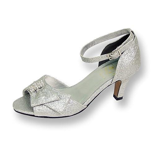 FIC Flores Elisa Mujer Amplia Zapato de ancho de vestido de fiesta para boda, novia