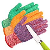 JH C0223MA Cut Resistant Gloves: 3 Color with Red for Meat, Green for Veg, Yellow for Fruit- High Performance Cut Level 5, Double Layers Silicone Coating, Food Grade No Cross Contam,3Pairs (Medium)