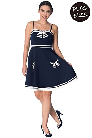 Banned Plus Size Set Sail Strappy Vintage Retro Dress - Navy/UK 18