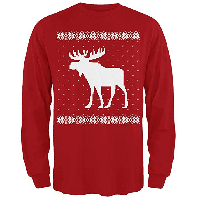 Ugly Christmas Sweater Design.Big Moose Ugly Christmas Sweater Red Adult Long Sleeve T Shirt