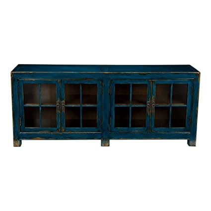 Genial Ethan Allen Ming Media Cabinet, Aged Teal