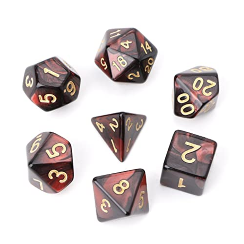 Ulkeme 7Pcs Set Acrylic Polyhedral Dice For Trpg Board Game Dungeons And Dragons D4 D20 Black