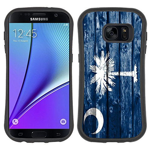 FJCases South Carolina The Palmetto State Wood Pattern Flag Anti-Slip Shockproof Soft Rubber Case Cover for Samsung Galaxy S7