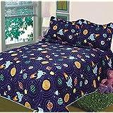 Elegant Home Multicolor sistema Solar con naves espaciales y cohetes diseño 2piezas colcha colcha edredón para niños adolescentes chicos tamaño individual # K18–06