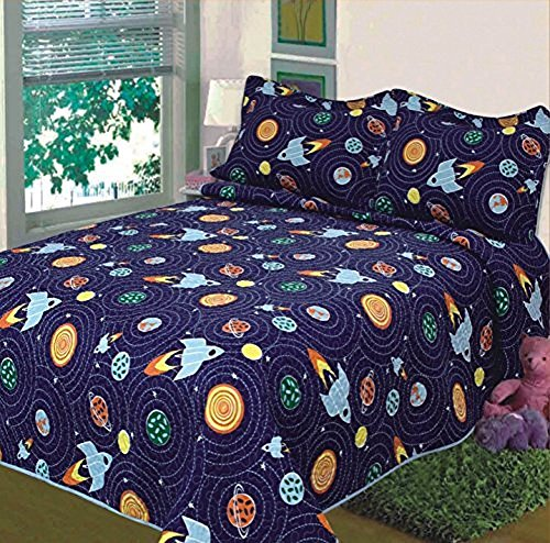 Elegant Home Multicolor Solar System With Space Ships & Rockets Design 2 Piece Coverlet Bedspread Quilt for Kids Teens Boys Twin Size # K18-06 ()