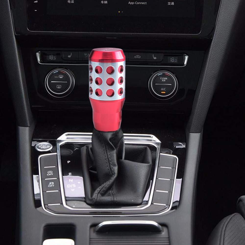Semoss Accesorios Coche Universal Pomo Palanca de Cambios Azul 5 Velocidades Aluminio Racing Pomo Universal Manual Autom/ático para Coches Camion SUVs con Adaptadores
