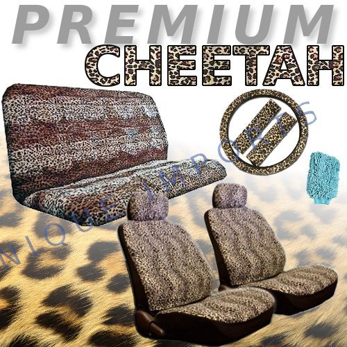 - Cheetah Animal Print Safari Auto Interior Gift Set - 2 Cheetah Low Back Front Bucket Seat Covers with Separate Headrest Cover, 1 Cheetah Steering Wheel Cover, 2 Cheetah Shoulder Harness Pressure Relief Cover, and 1 Bench Cove WITH FREE Microfiber WASH MITT