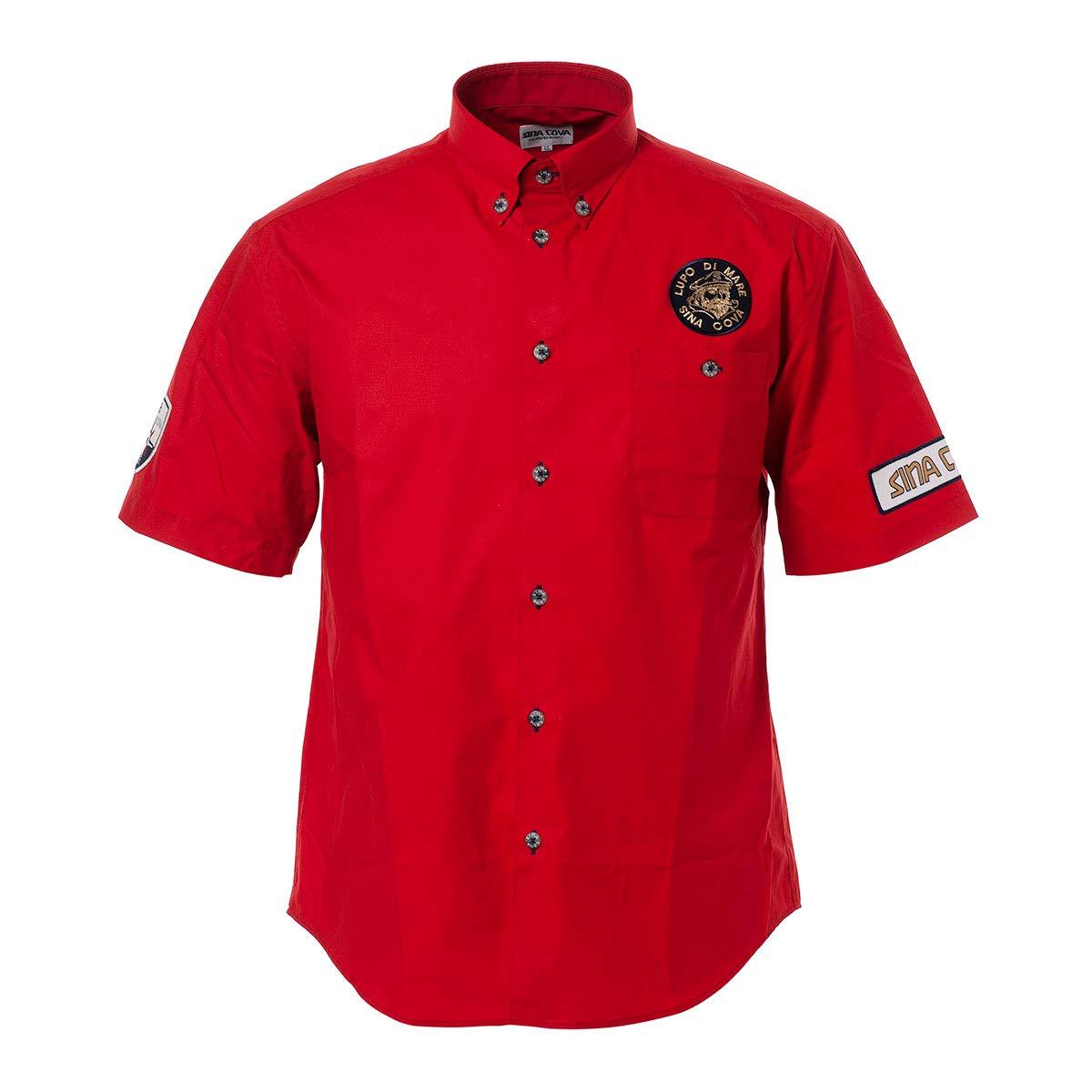 (シナコバ) SINA COVA 半袖ボタンダウンシャツ ボタンダウンシャツ 半袖シャツ カジュアルシャツ シャツ 綿 イカリ柄 メンズ マリンウェア ゴルフウェア 19124510 LL レッド B07QBYBGNG