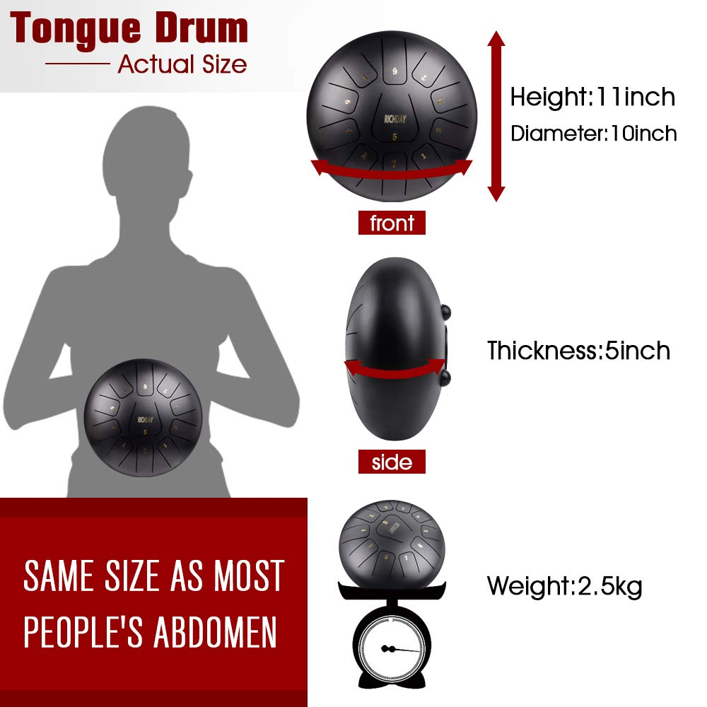 Richday Mini Tongue Drum Steel Percussion Hang Drum 11 Notes 10 Inches with Padded Travel Bag by Richday (Image #3)